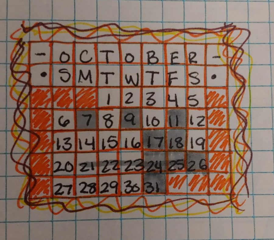 A calendar of october with the past events marked